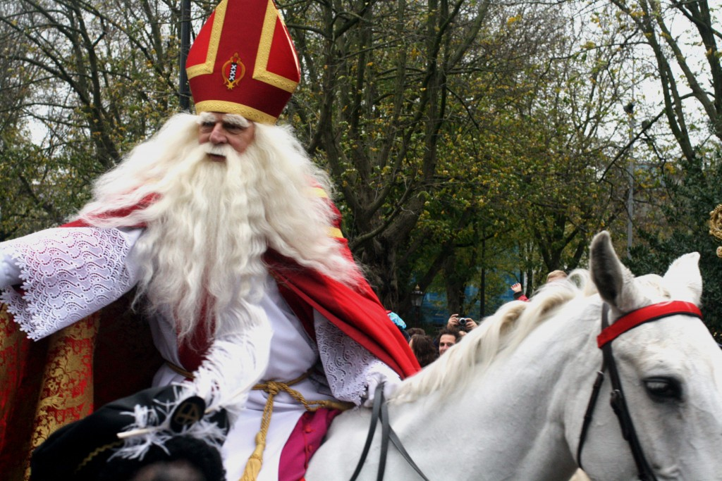 Sinterklaas on his white horse during his parade in Amsterdam 2015