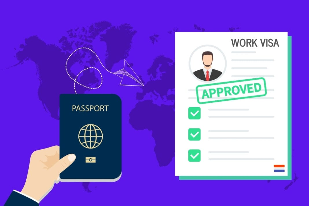 graphic-of-hand-holding-passport-and-approved-work-visa-netherlands