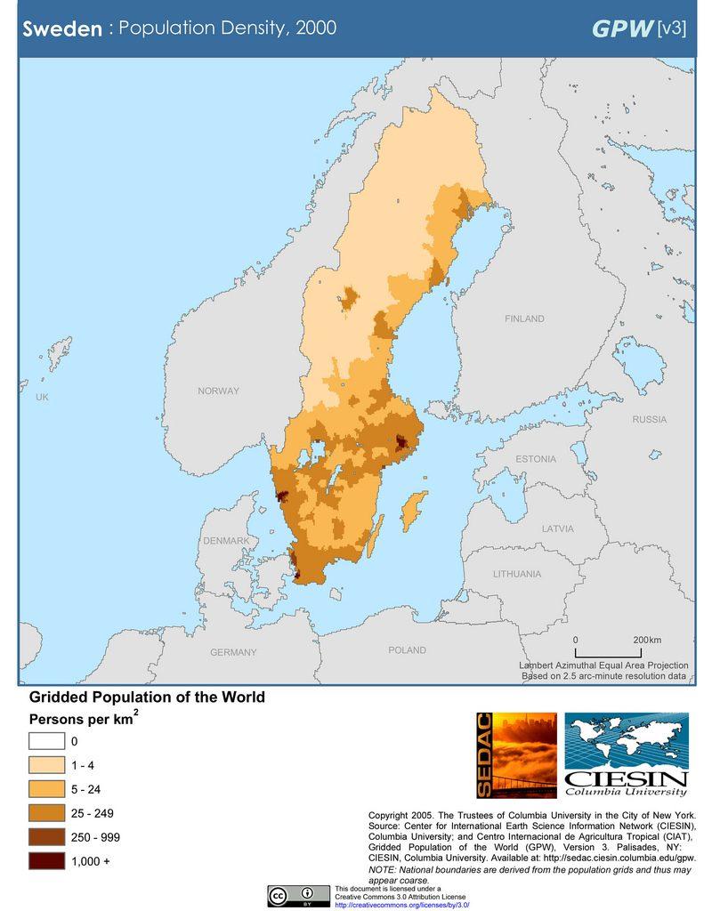 Sweden: Population Density, 2000