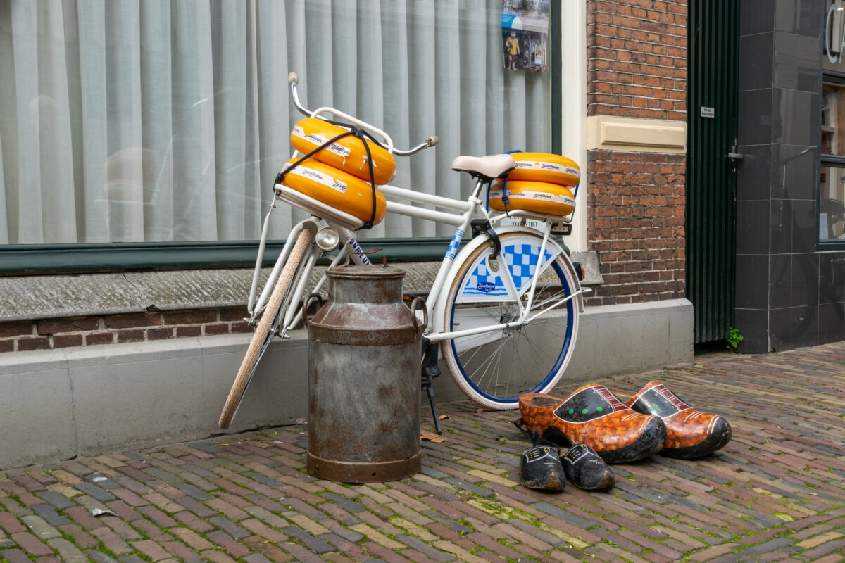 photo-of-dutch-bike-with-cheese-and-clogs