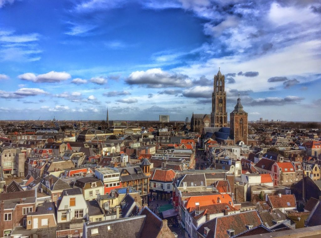 Moving to Utrecht - the Dom Tower dominates the skyline.