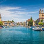 Historic Zurich city center with famous river Limmat, Switzerlan